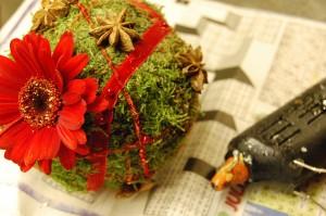 Mossboll med röd gerbera och stjärnanis
