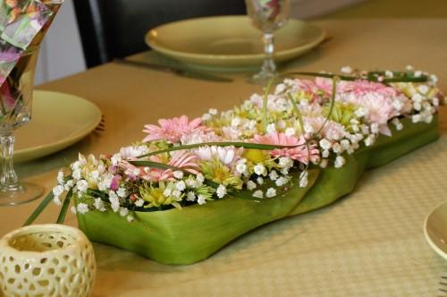 Bordsdekoration till påsk, i rosa, ljusgult och lime (2)