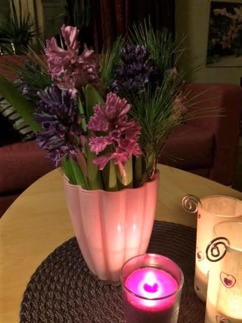 Julmys med hyacinter i vas
